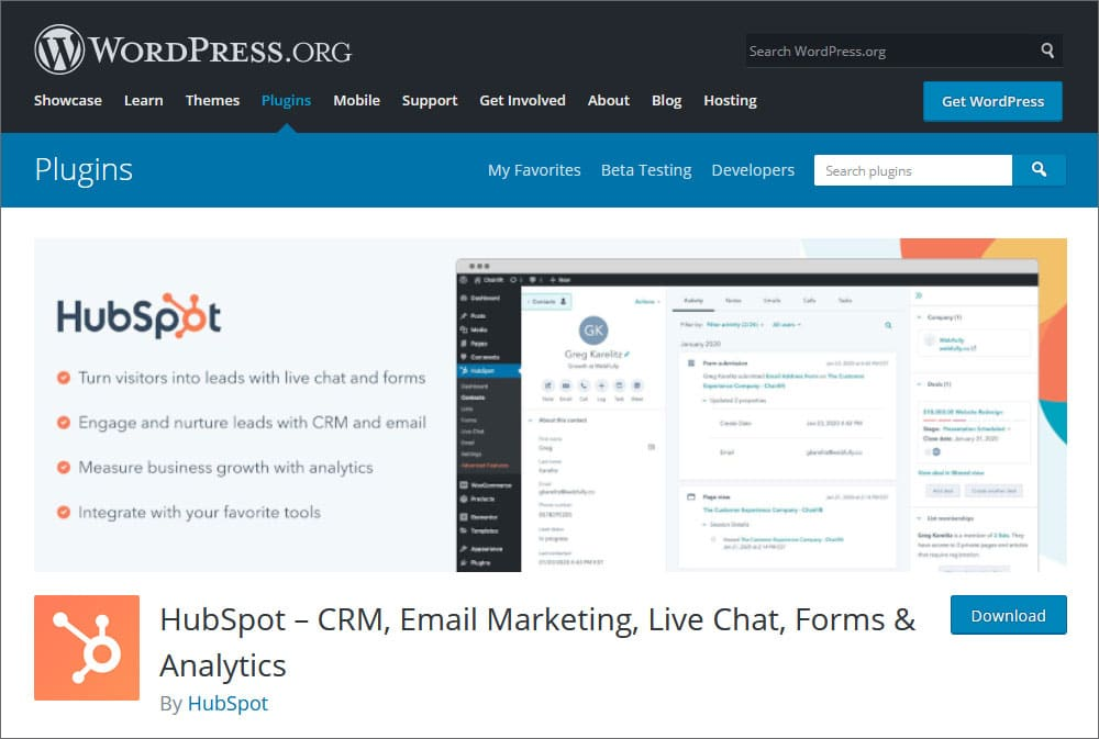 HubSpot CRM, Email Marketing, Live Chat, Forms & Analytics