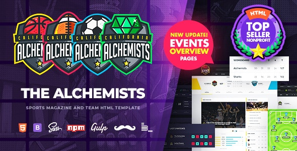Alchemists Sports, eSports & Gaming Club and News HTML Template