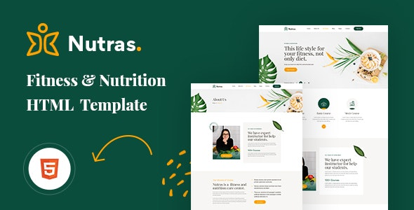 Nutras Fitness & Nutrition Bootstrap 5 Template