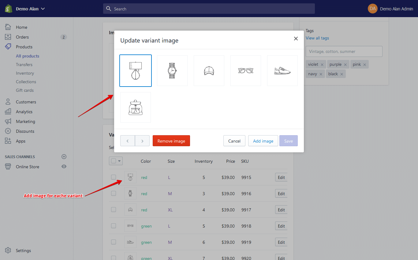 shopify product variant
