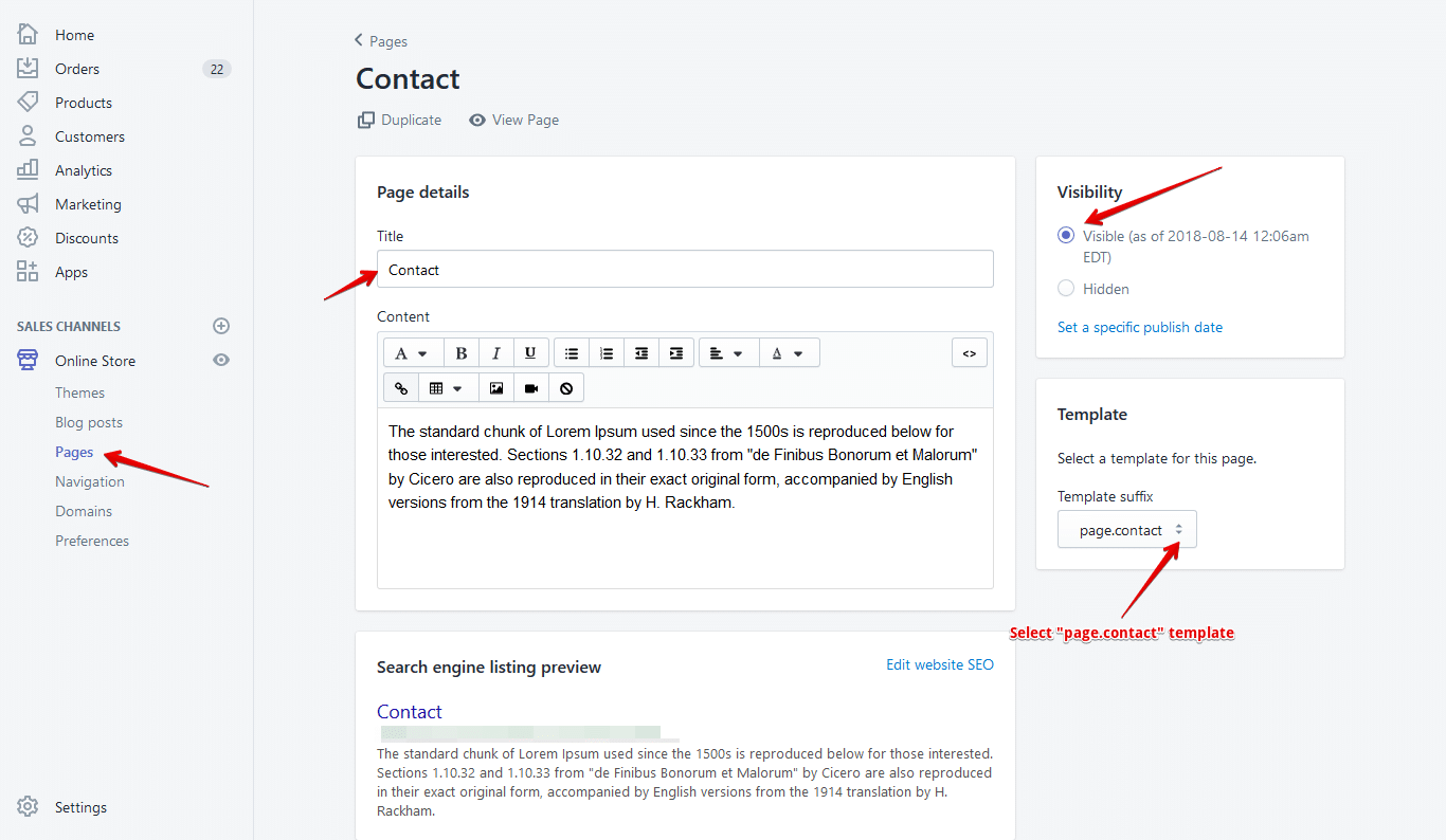shopify contact page