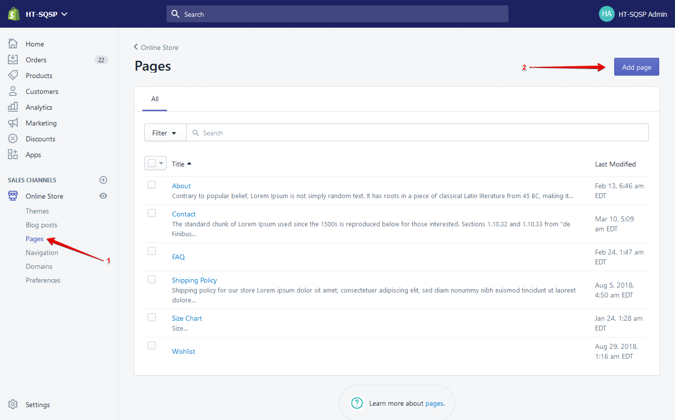 shopify create page