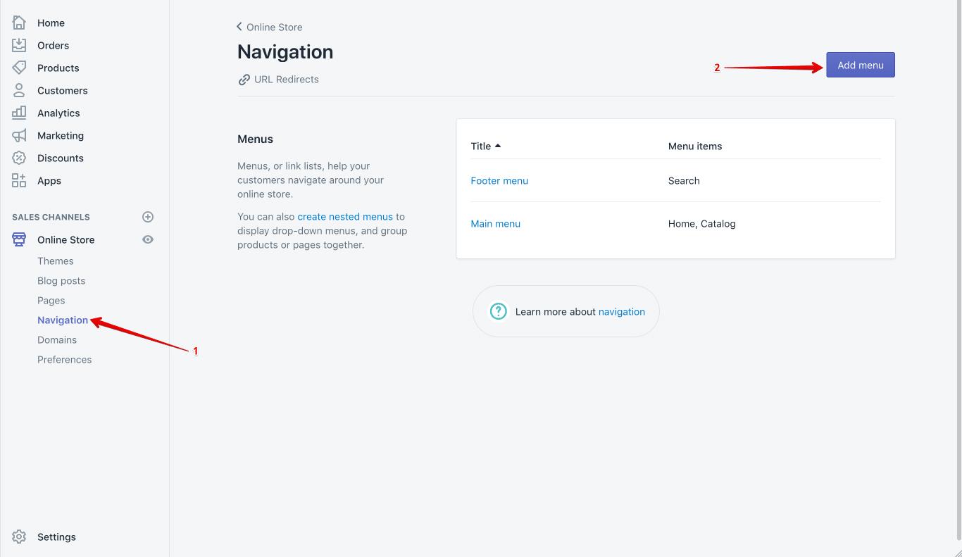 shopify navigation setup