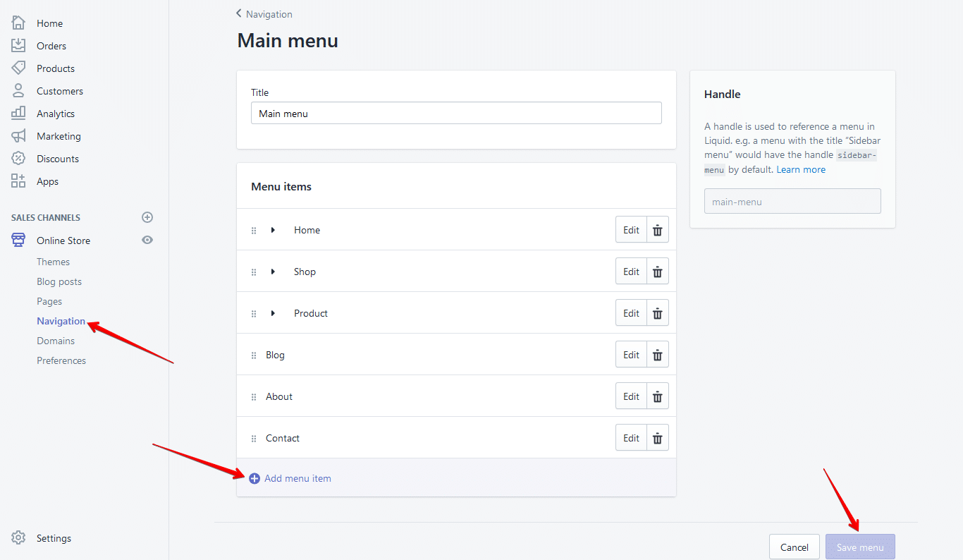 shopify navigation menu setup