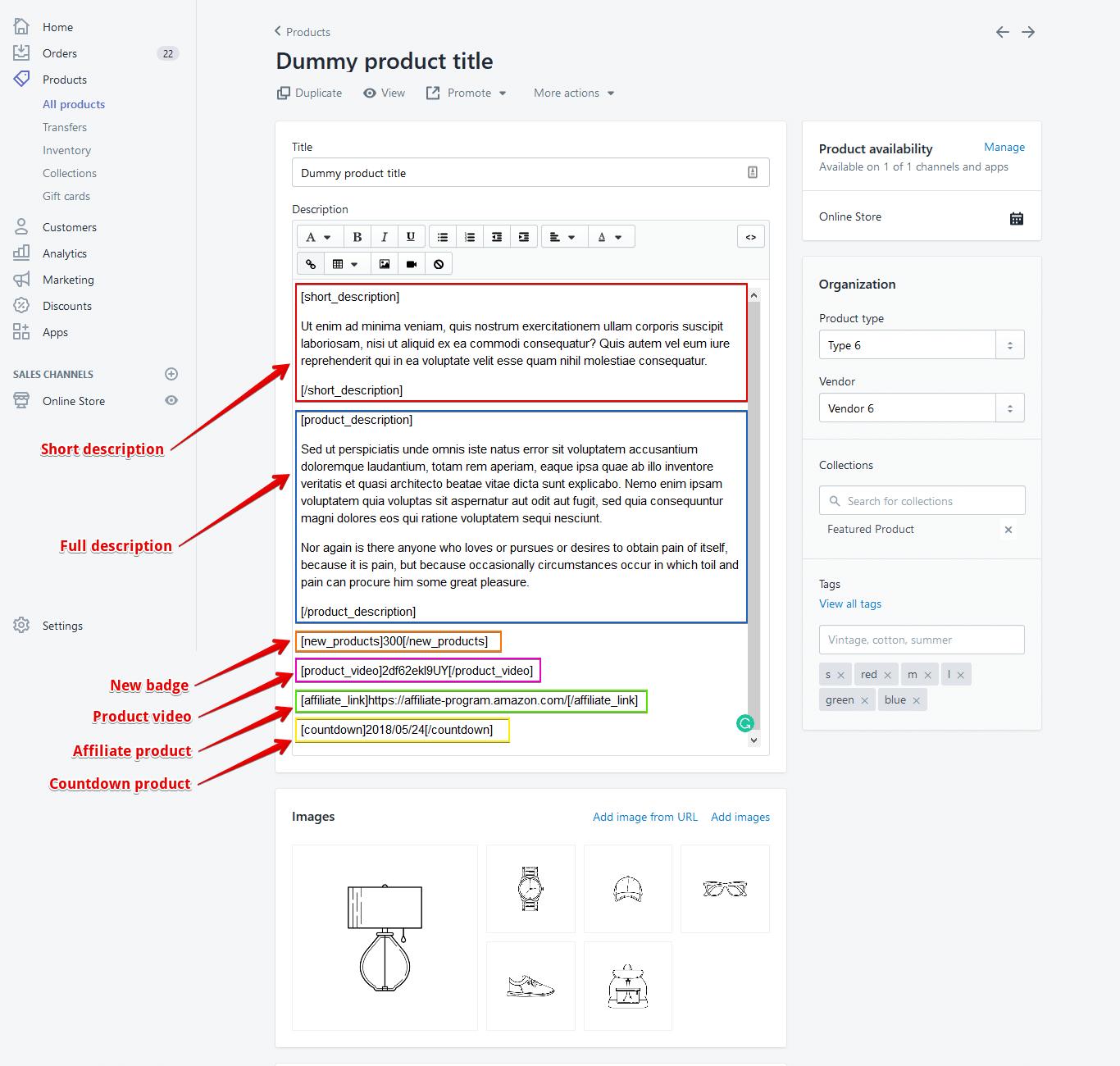 shopify product description