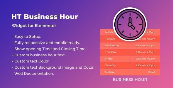 HT Business Hour Widget for Elementor