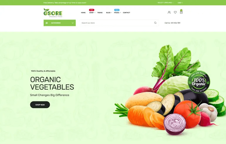 Gsore - Grocery And Organic Food Shop Shopify Theme