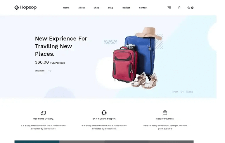Hopsop - Travel Accessories ECommerce Shopify Theme
