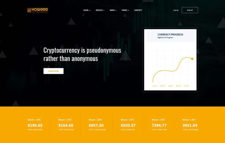 Howard – Crypto Currency React Template