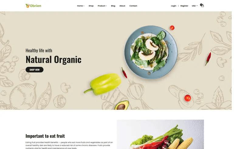 Obrien - Organic Food Shopify Theme