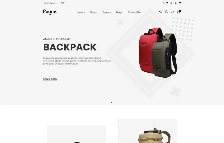 Payne - Backpack ECommerce Shopify Theme