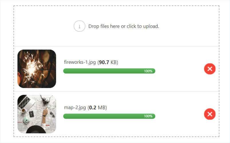 drag and drop file upload